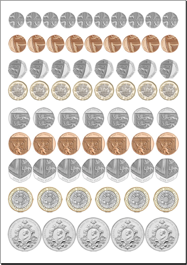 graphic about Coins Printable titled Cash A4 printable structure sets, total scale
